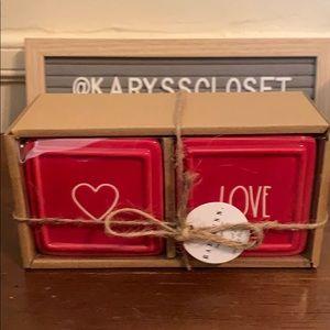Rae Dunn Valentines red jewelry box set